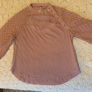 Free people knit top with floral detail